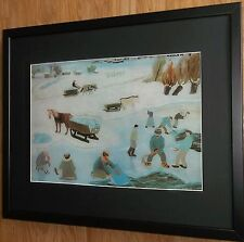 Taking Snow to Town by Franjo Mraz, 20''x16'' frame, village snow scene print