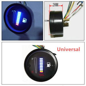 1PCS Car Motorcycle Universal 2inch 52mm 10LED Fuel Level Meter Digital Gauge