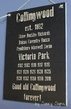 History Collingwood Black Aussie Rules Wooden Shed Bar Man Cave BBQ Footy Sign