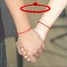 2pcs Simple Unisex Red Kabbalah String Lucky Handmade Bracelet Adjustable
