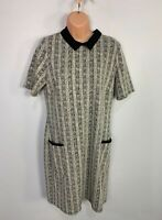 BNWT WOMENS M&CO SIZE UK 14 BLACK&IVORY MIX CASUAL STRETCH A LINE DRESS DRESS