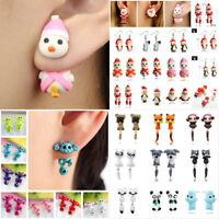 Women 3D Cartoon Animal Polymer Clay Ear Studs Earrings Jewelry Lover Gift