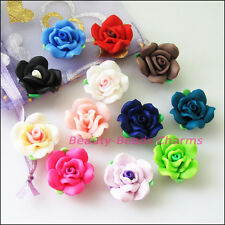 8Pcs Mixed Handmade Polymer Fimo Clay Flower Spacer Beads Charms 20mm