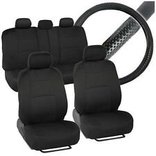 Car Seat Covers Front Rear Solid Bench Steering Wheel Padded Black