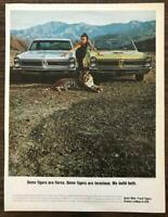 ORIGINAL 1965 Pontiac LeMans & GTO PRINT AD Two Fierce Ferocious Tigers