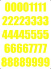 Number sheet sticker vinyl decal car bike door wheelie bin yellow race
