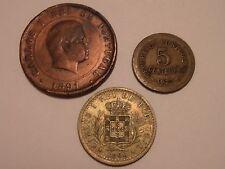 3 LOT PORTUGAL COINS 1891 20 REIS,  1900 100 REIS & 1927 5 CENTAVOS