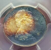 Toned Silver 1967 Canada 25 Cents Quarter   PCGS MS65