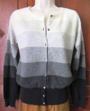 Autumn Cashmere 100% Sweater Cardigan White Gray Black Wide Stripe Long slv L
