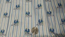 "Vintage Cotton Fabric Pc OLD TIME BICYCLES ON BLUE STRIPE 15""/44"" Wide"