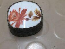 Vintage Silver and Enamel/Porcelain Pill Trinket Snuff Box