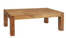 Coffee Table Rustic Antique Solid Acacia Rectangle Top Light Brushed Sand Finish