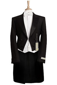 NEW MENS BLACK EVENING WHITE TIE TAILS DRESS MANSION HOUSE WEDDING TAILCOAT