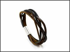 Mens Brown Genuine Leather Wrap Rope Bangle Stainless Steel Clasp Bracelet #B285