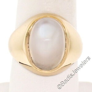 Men's 14K Yellow Gold Large Oval Bezel Blue Moonstone Solitaire Polished Ring