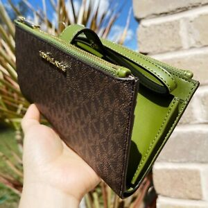 Michael Kors Double Zip Phone Case Wallet Wristlet Brown Signature MK Green