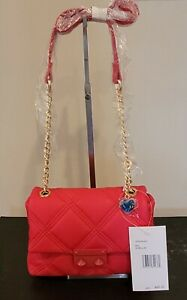 Betsey Johnson Quilted Crossbody Fuchsia Red Handbag