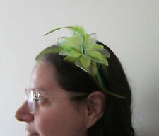 FASCINATOR Yellow/Green | Soft Feathers | Beads | Flower detail | Hairband (64A)