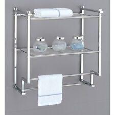 Bathroom Towel Bars Rack Holder 2 Tier Wall Mount Chrome Shelf Storage Organizer
