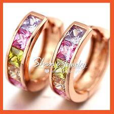 18k Rose Gold GF Vintage Square Rainbow Crystal Womens Solid Hoop Earrings Gift