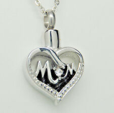 """Clear Cz """"O"""" in Stainless Steel Cremation Jewelry, """"Mom"""" Heart Urn Necklace with"""