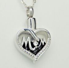 """Cremation Jewelry, """"Mom"""" Heart Urn Necklace with Clear Cz """"O"""" in Stainless Steel"""