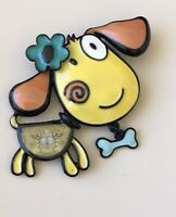 Adorable Dog  with dangle bone  large  Pin Brooch in enamel on Metal