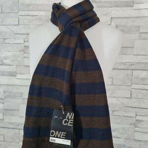 New BURTON Men's Winter Scarf Brown/Navy Blue Striped Knit Long
