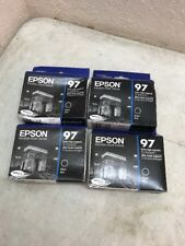 Lot of 4 Epson 97 T0971 Black Ink Cartridge T097120 Genuine New Free Shipping