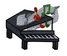#2779 Piano with Melody Music Notes Embroidery Iron On Applique Patch