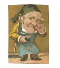 Janitor Broom Kerchief Snuff Earring Finger Nose No Advertising Vict Card c1880s