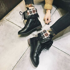 Women Ladies High Over The Knee Mid Calf Ankle Heel Boot Flat Shoe Zipper Casual
