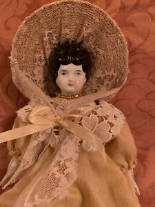 Antique Beautiful little German china head low brow doll marked 4 Germany