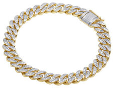 Men's 10K Yellow Gold Real Diamond Miami Cuban Link Bracelet 1 CT 9MM 8.25""