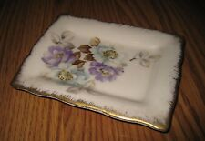 VINTAGE MANN Floral Purple White FINE CHINA WHITE & GOLD TRINKET DISH