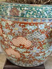 """PAIR Antique Chinese Porcelain Planters. 10"""" high and diameter. Hand painted"""