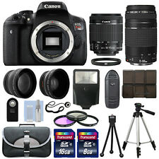 Canon EOS T6i SLR Camera + 4 Lens Kit 18-55 STM + 75-300mm + 24GB Top Value Kit