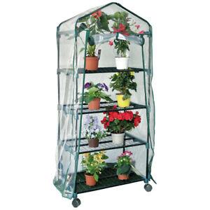 Serra da giardino 4 ripiani acciaio per piante fiori orto balcone vasi 70x50x160