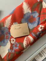Red White And Blue Hawaiian Floral Cotton / Rayon Remnant Fabric Print 110 X 135