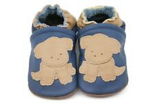 Kidzuu Soft Sole Baby Infant Leather Crib Shoe - Navy Bootie with Tan Puppy