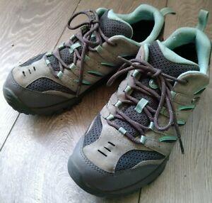 Merrell Castle Rock Grey Green Walking Hiking Trail Running Shoe Trainer 5.5 UK