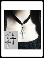 Black Velvet Choker Ankh Earring & Necklace Set