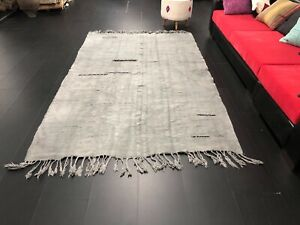 Gray Hemp Rug, Natural Turkish Rug, Hemp Kilim Rug, Hemp Rug, 8.7 x 5.5 ft C1108