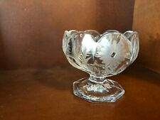 Etched Glass Flowers Candy Dish with Base