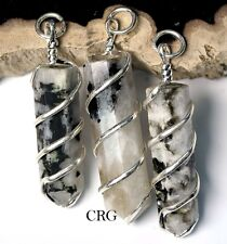 Rainbow Moonstone Point Pendant in Silver Plated Spiral (PP6DG)