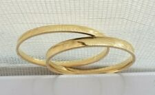 """14k Yellow Gold Lot of 2 Etched Bangles Bracelets 2.25"""" Dia. 13.3g  NOT SCRAP"""