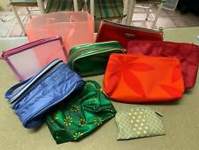 LOT OF 9 DIFFERENT CLINIQUE COSMETIC MAKEUP BAGS VARIOUS SIZES & COLORS