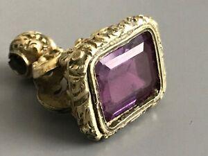 Antique Victorian Amethyst Gemstone Wax Seal / Pocket Watch Fob