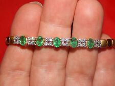18K YELLOW GOLD 3.22TCW COLUMBIAN  EMERALD & DIAMOND TENNIS BRACELET  7 INCH