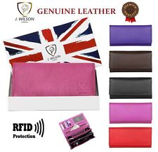 LADIES DESIGNER PURSE LEATHER WALLET RFID SAFE GENUINE CREDIT CARD HOLDER PURSE